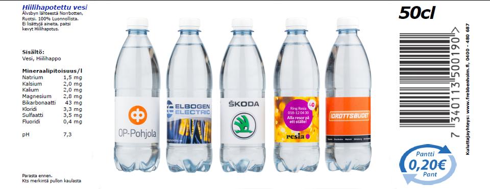 Vesipullot omalla etiketillä, kysy lisää!
